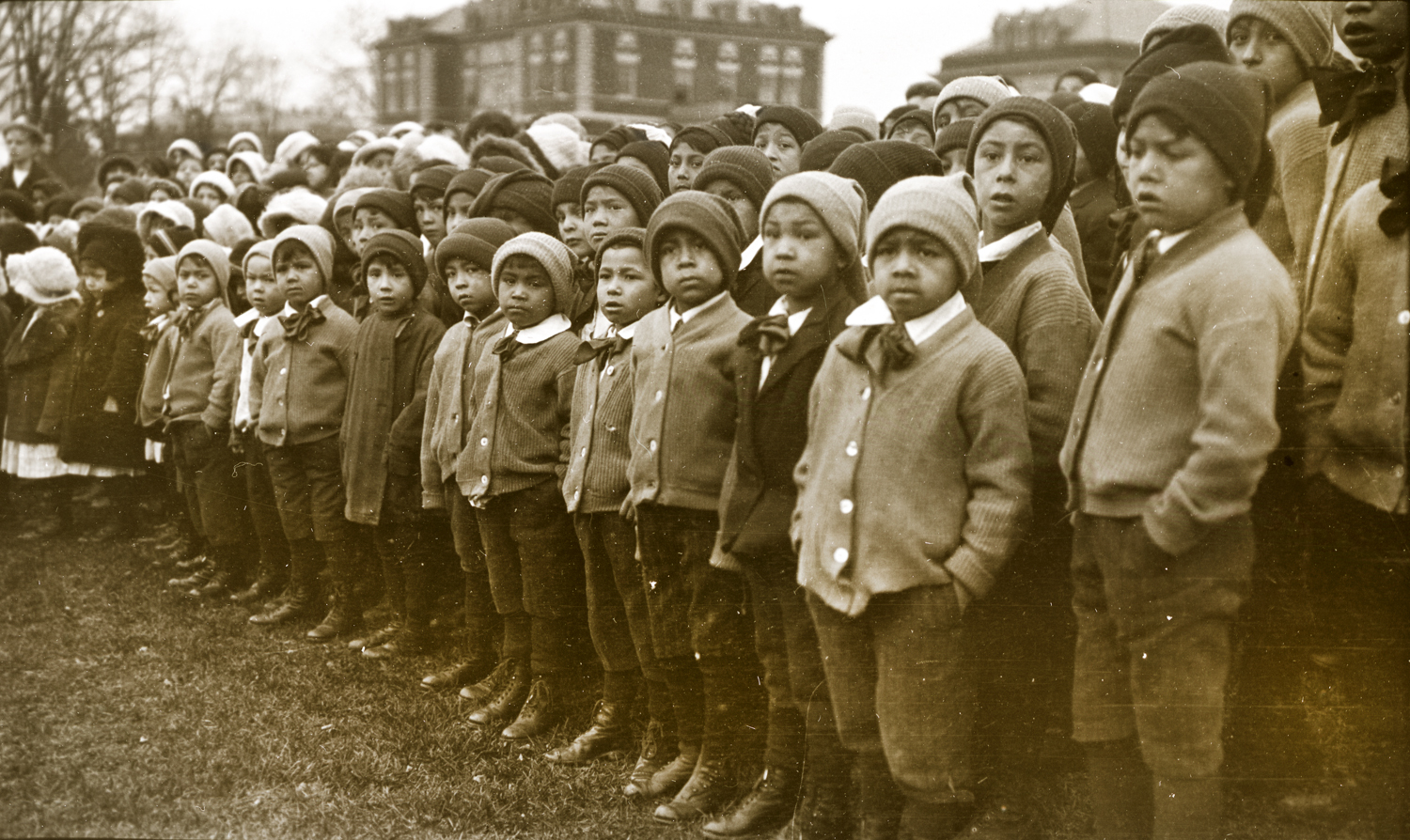 Thomas Indian School Children at Flag Raising Ceremony, November 28, 1913. Photograph by Joseph Dixon. Courtesy of the Mathers Museum of World Cultures, Wanamaker Collection, Indiana University, Bloomington, I.N., W-4312.