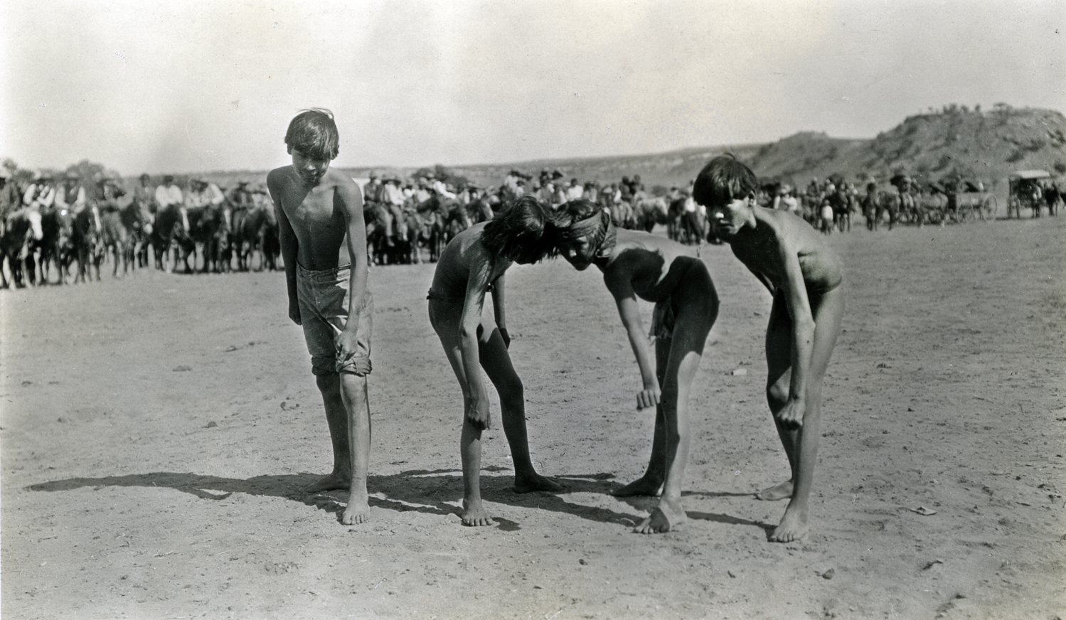 Navajo Boys at Start of Footrace, Navajo Reservation, Arizona, July 4, 1913. Photograph by Joseph Dixon. Courtesy of the Mathers Museum of World Cultures, Wanamaker Collection, Indiana University, Bloomington, I.N., W-4760.