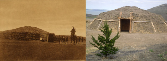 This photo symbolizes the past and present. The photo on the left was taken by Edward Curtis in 1908. The photo on the right, taken 100 years later in 2009, demonstrates the long standing educational and spiritual tradition of the Arikara and that there are those who have not forgotten our teachings. Photograph and caption by KuuNUx TeeRIt Kroupa. Personal collection.